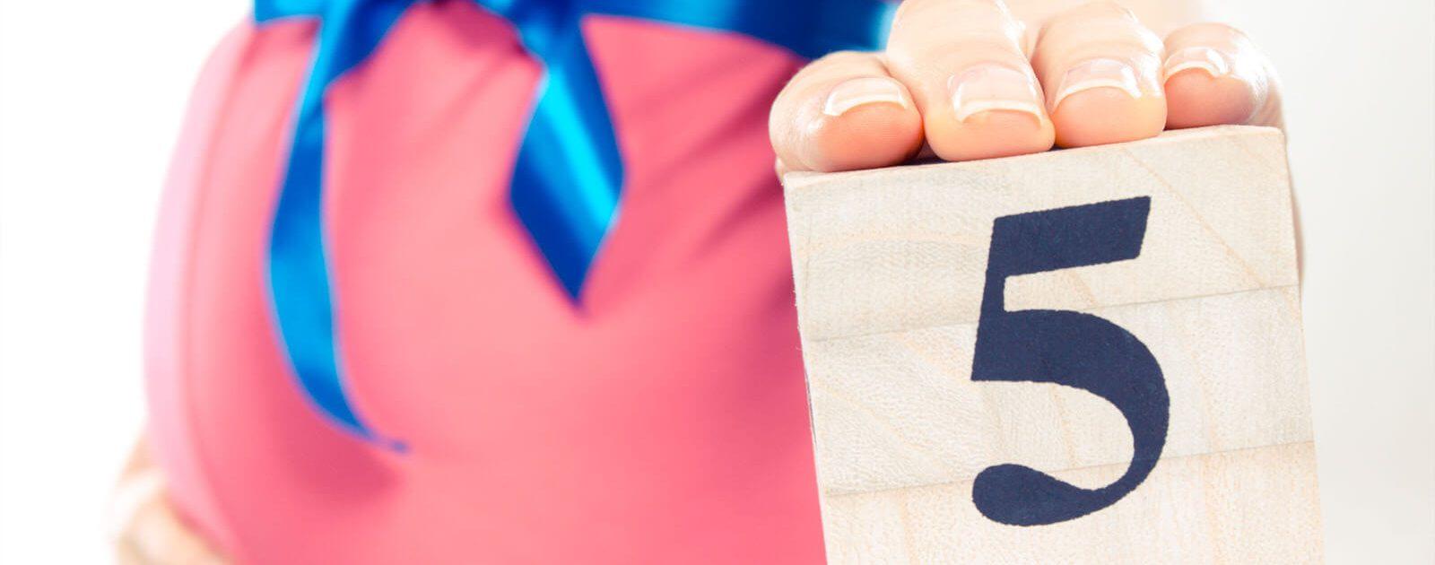 Frau in der 17. Schwangerschaftswoche hält Würfel mit der Zahl 5 in der Hand.