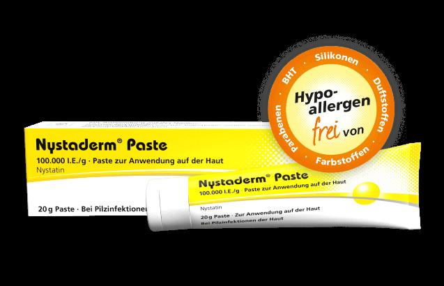 Abbildung von Nystaderm® Paste zur Behandlung von Windeldermatitis.